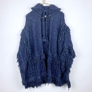 Gap Fringe Detailed Poncho Sweater In Navy Blue